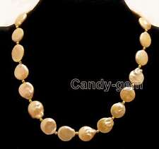 "SALE Big 10-11mm High quality natural Pink COIN PEARL 17""  NECKLACE-nec5690"