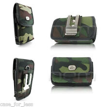 Camo Horizontal+Vertical Rugged Case Cover Purse Clip w Loops for Verizon Phones