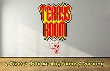 Funky Personalised Skull Name Horror Decal Wall  Sticker Boys Girls RED NWSRE