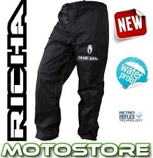 RICHA RAIN WARRIOR OVER TROUSERS WATERPROOF MOTORCYCLE BIKE PANTS JEANS BLACK
