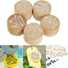 New Handwriting Wishes Sentiment Wooden Rubber Round Stamps Floral Choose Words