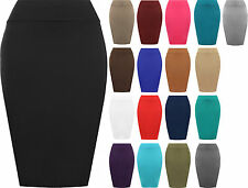 New Womens Plain Bodycon Pencil High Waisted Ladies Stretch Midi Skirt 8 - 14