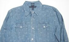 Tommy Hilfiger Mens Slim FIt Printed Denim Western Double Pocket Shirt