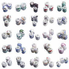10pcs Murano Porcelain Ceramics Spacer Beads European Fit Bracelets Jewelry DIY