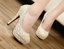 NEW Womens Fashion Vogue Sexy Lace Hollowed High Heel Platform Stiletto Shoes Fa