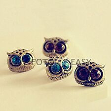 Fashion Retro Vintage Bronze Crystal Rhinestone Big Eyes Owl Ear Stud Earrings