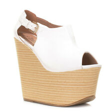 WOMENS LADIES STACKED PLATFORM PEEP TOE CUT OUT WEDGE SANDALS SHOES SIZE 3-8