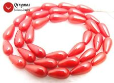 "SALE small 6*12mm Drop Red High Quality Natural Coral beads strand 15""-los548"