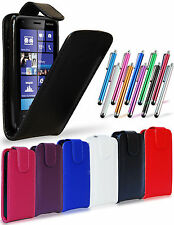 LEATHER FLIP CASE COVER POUCH, LCD FILM & STYLUS FOR NOKIA LUMIA 620
