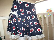 New Blue Red White Floral Retro hippy Lolita  Lace Frilly A Line Skirt Party