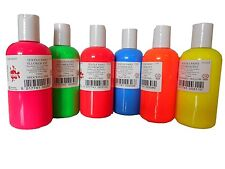 FLUORESCENT SCOLA 150ml PERMANENT FABRIC PAINT RED GREEN PINK BLUE ORANGE YELLOW