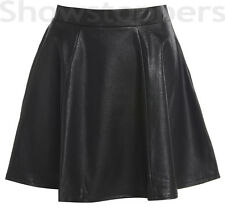 Size 8 10 12 14 Faux LEATHER SKATER SKIRT Womens PU WET LOOK Flared Black Skirt