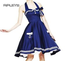 HELL BUNNY Pin Up 50s DRESS Motley BLUE Sailor Anchor All Sizes