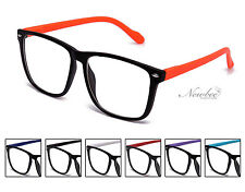 2 Pairs Flat Colors Clear Lens Geek Nerd Glasses With Spring Hinge 7 Colors