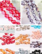 Charms Round Flat Glass Crystal Bracelet&Necklace Finding Spacer Beads 8mm 8682