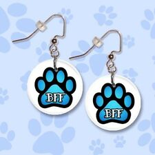 """**PAW PRINT BFF** Blue or Pink 1"""" Button Dangle Earrings **FREE PIN** ~~USA"""