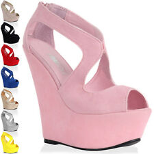 New Womens Cut Out Ladies Platform Peep Toe High Wedge Heel Shoes Size 4-9