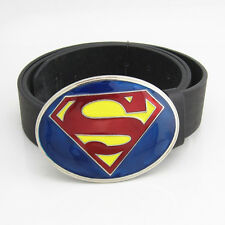DC Comics New Fashion Superman Superhero Blue Mens Metal Belt Buckle Leather