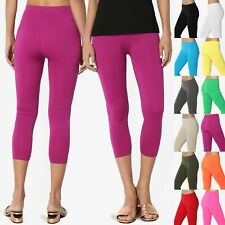 TheMogan Basic Plain Stretch Cropped Capri Leggings Layering Bottoms