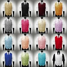 All Sizes 16 Colors Horizontal Stripe Satin Vest & Tie Set for Suit or Tuxedo