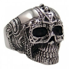 USA Seller Men's 316L Silver Stainless Steel Skull Harley Biker Ring Size 8-14