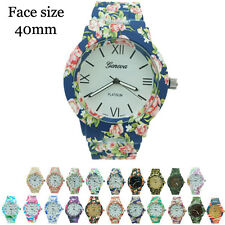 New Floral Flower Geneva Ladies Rubberized Coated Round Link Fashion Watch 40mm