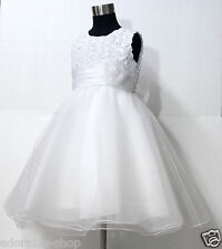 W810 White Anniversary Celebration Wedding Pageant Flower Girls Dress SIZE 1-10Y