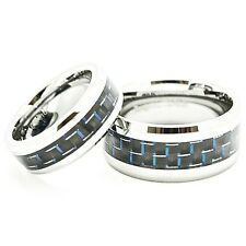 7mm & 10mm Black-Blue Carbon Fiber Tungsten Matching Wedding Bands (4-15:7-17)