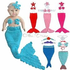 Newborn Baby Girls Little Mermaid Tail Outfit Crochet Costume Photo Props Set