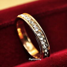 Rose Gold Filled Made With Swarovski Crystal Wedding Eternity Ring Band R8