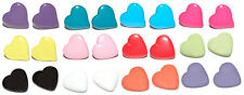 COLORFUL HEART STUD or CLIP ON EARRINGS - 9 COLORS - U PICK