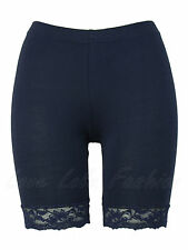 Womens Cycling Shorts Ladies Lace Trim Cycle Pants Stretch Leggings Navy New