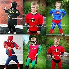 Halloween MUSCLE Superman Robin Batman Hero Party Boy Drss Up Cosplay Costume