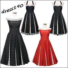 dress190 BLACK OR RED POLKA DOT 50s ROCKABILLY SWING PROM VINTAGE PARTY DRESS
