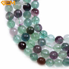 """Natural Stone Fluorite Gemstone Beads For Jewelry Making 15"""" Faceted Rainbow"""
