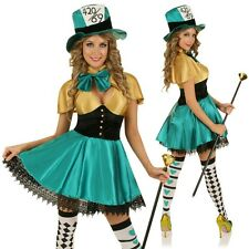 Adult Mad Hatter Alice In Wonderland Halloween Party Dress Outfit & Hat Costume