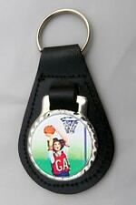 NETBALL NETBALLER LEATHER KEY FOB Keyring NEW