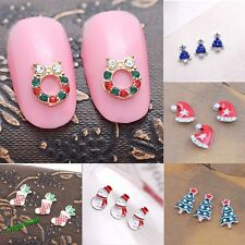 New Stylish 3D Alloy Rhinestone Christmas Nail Art Tips DIY Decoration 10 Pcs