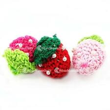 10 20 50 Beaded Knitted Crochet Strawberry Embellishment Applique Knitted Craft