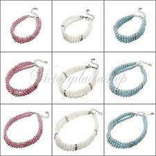 Fashion 3 Rows Pet Collar Dog Pearls Crystal Copper Cat Jewelry Necklace Decor