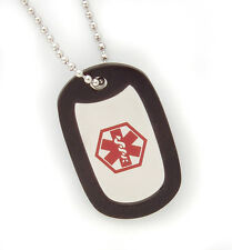 Stainless Steel Medical ID Dog Tag Necklace-Diabetes-Coumadin-Decals-Engrave