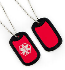 Red Medical ID Dog Tag Necklace-Diabetes-Coumadin- Custom Engrave