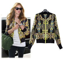 VINTAGE CELEBRITY THIN CHIFFON JACKET BLAZER JUMPER CARDIGAN PRINTED ZIP UP