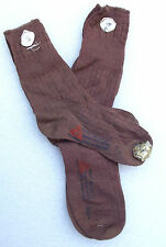 TRESCO short brown socks vintage 1950s UNUSED girls school uniform wool & rayon