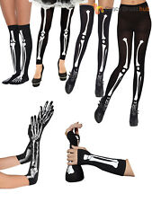 Ladies Skeleton Bone Print Halloween Costume Accessory Womens Fancy Dress