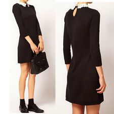 Women New 3/4 Sleeved Lace Peter Pan Collar Shift Casual Mini Dress Chic