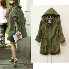 New Womens Hoodie Drawstring army green Military trench Parka Jacket Coat Jumper