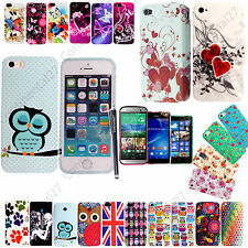 For Various Phones Printed Rubber Silicone Back Case Cover + Free Guard & Stylus