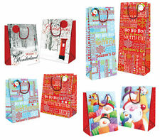 2 x Christmas Xmas Gift Bags & Tags Medium or Bottle 3 Designs To Choose From