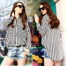 Lady Chiffon Blouse Tops Long Sleeve Vertical Striped Button Down Shirt S M L